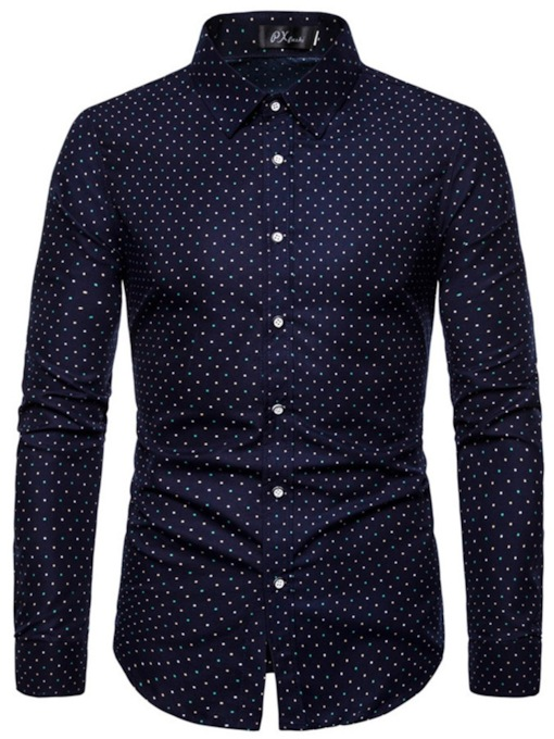 Print Polka Dot Shirt Casual Lapel Polka Dots Slim Men's Shirt