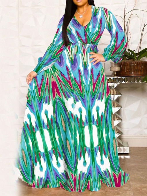 Print V-Neck Long Sleeve Mid Waist Women's Maxi Dress
