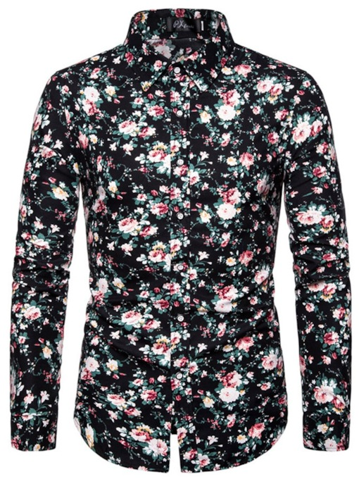 Print Floral Lapel Casual Cotton Long Sleeves Slim Men's Shirt