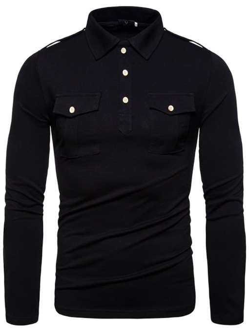 Polo Neck Plain Casual Pocket Men's Polo Shirt