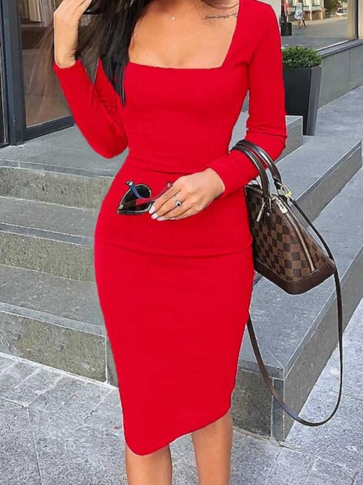 Square Neck Long Sleeve Regular Women's Bodycon Dress