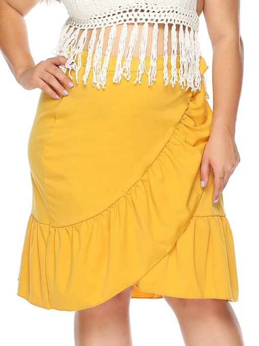 Plus Size A-Line Lace-Up Knee-Length Plain Western Women's Skirt