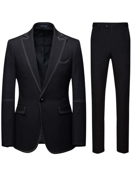 One Button Color Block Blazer Fashion Men's Dress Suit