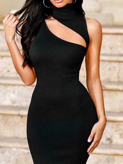 Hollow Above Knee Sleeveless Turtleneck Women's Bodycon Dress