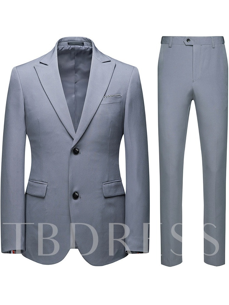 Formal Pocket Pants Single-Breasted Slim Men's Dress Suit