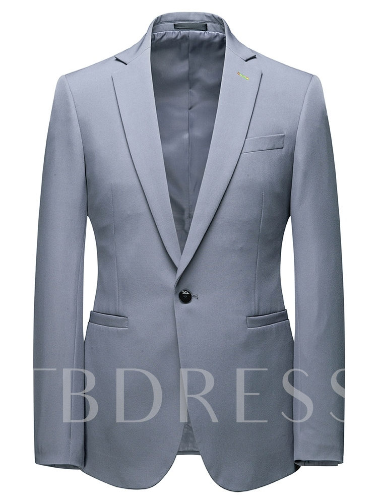 Formal One Button Pocket Plain Men's Dress Suit