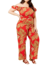 Plus Size Full Length Print Plant Office Lady Slim Women's Jumpsuit