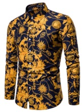 Fashion Luxury Stylish Lapel Color Block Print Casual Single-Breasted Long Sleeves Men's Shirt