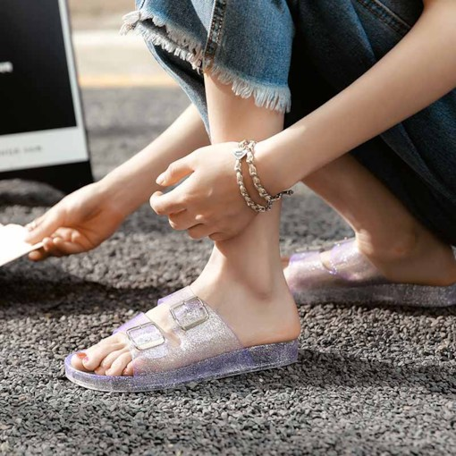 Slip-On Hollow PVC Jelly Sandals