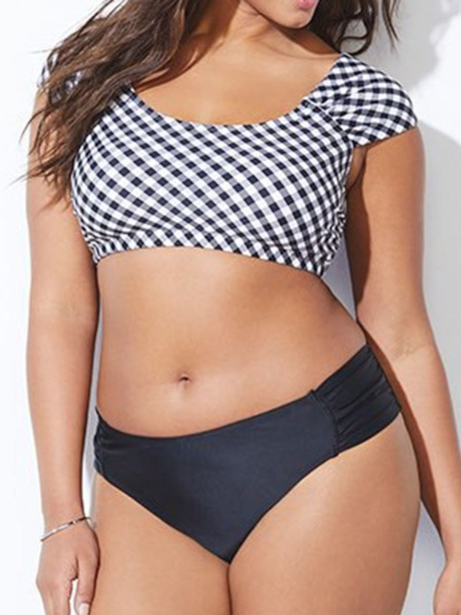 plus size plaid tankini set druck sexy frauen bademode