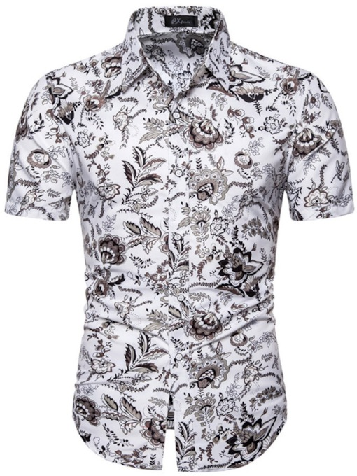 Casual Floral Print Lapel Color Block Button Slim Short Sleeves Men's Shirt