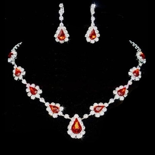 Earrings Red Diamante Korean Jewelry Sets (Wedding)