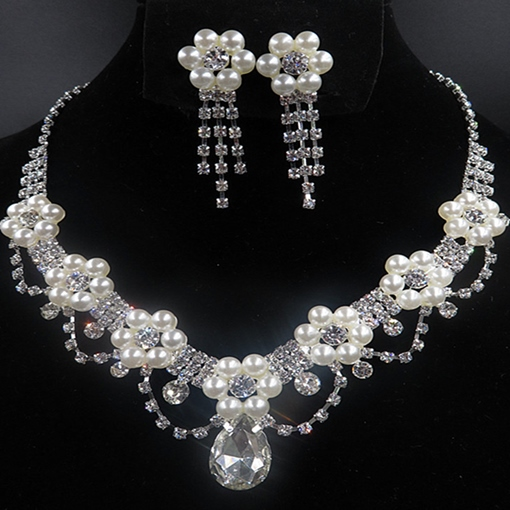 E-Plating Necklace Pearls Floral Jewelry Sets (Wedding)