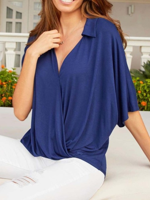 Plain Lapel Batwing Sleeve Three-Quarter Sleeve Women's Blouse
