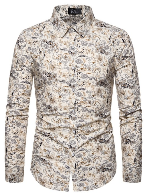 Casual Beige Floral Lapel Print Single-Breasted Long Sleeves Men's Shirt
