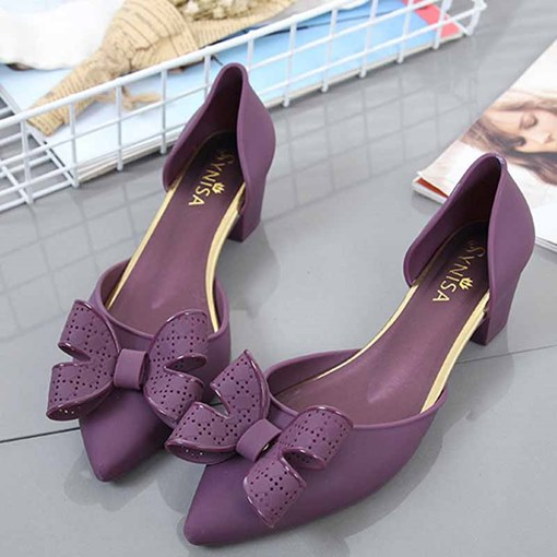 Pointed Toe Bow Chunky Heel Slip-On Sweet Jelly Sandals