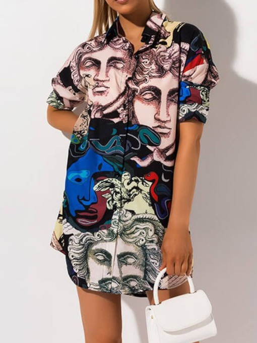 Color Block Lapel Print Mid-Length Women's Blouse