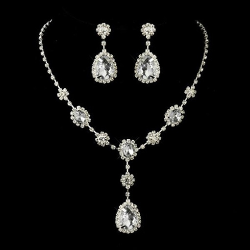 Gemmed Necklace Earrings European Jewelry Sets (Wedding)