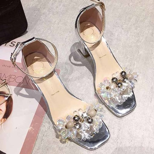 Buckle Open Toe Chunky Heel Heel Covering Floral Sandals