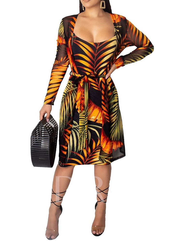 Plant Print Coat Office Lady Pullover Women's Two Piece Sets
