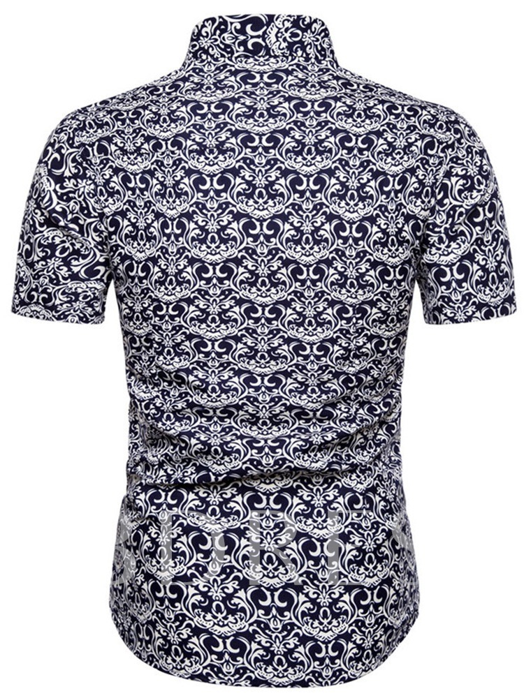 African Fashion Ethnic Printed Button Lapel Casual Color Block SShort Sleeves Men's Shirt