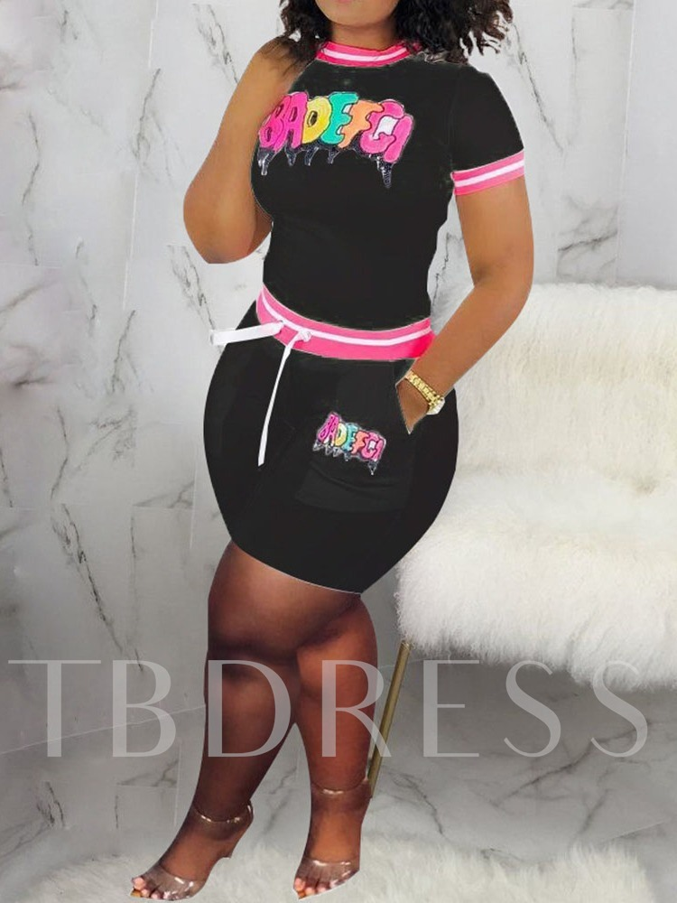 T-Shirt Print Office Lady Color Block Pullover Women's Two Piece Sets