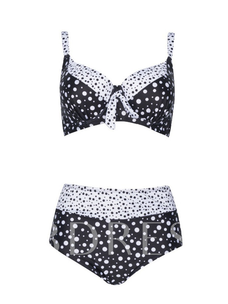 Plus Size Polka Dots Western Bikini Set Women's Swimwear