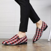 Plaid Slip-On Men's Dress Shoes
