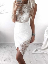 Round Neck Lace Floral Sleeveless Pullover Women's Bodycon Dress