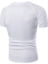 White/Army Green Zipper Color Block Round Neck Casual Straight Men's T-shirt