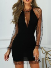 See-Through Stand Collar Long Sleeve Raglan Sleeve Women's Lace Dress