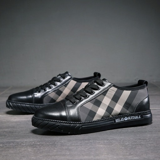 Lace-Up Plaid Round Toe Men's Skate Shoes