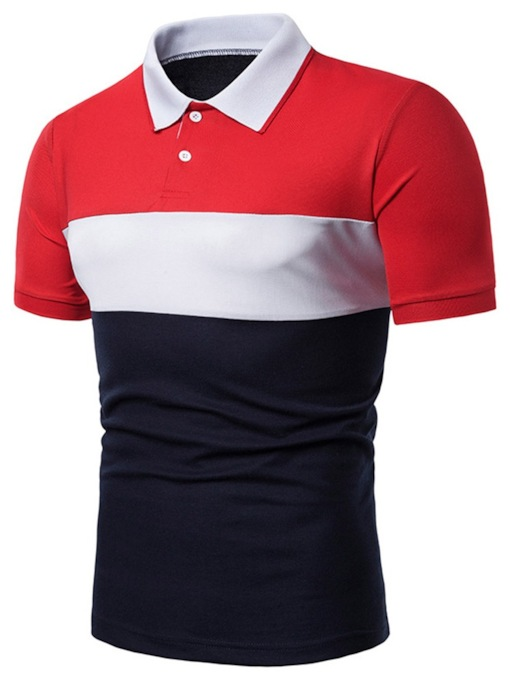 Casual Polo Neck Color Block Button Men's Polo Shirt