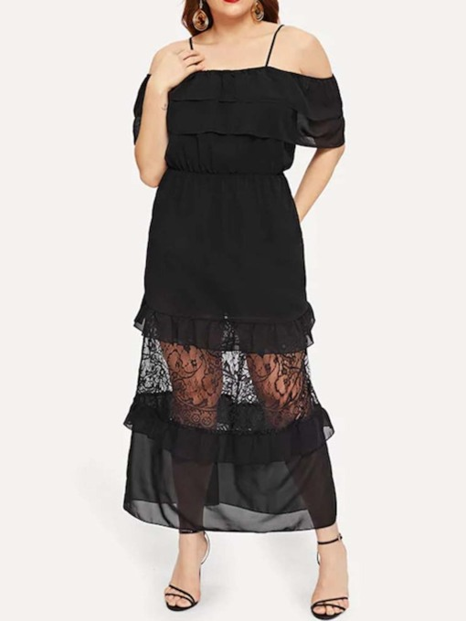 Plus Size Off Shoulder Lace Short Sleeve Women's Dress