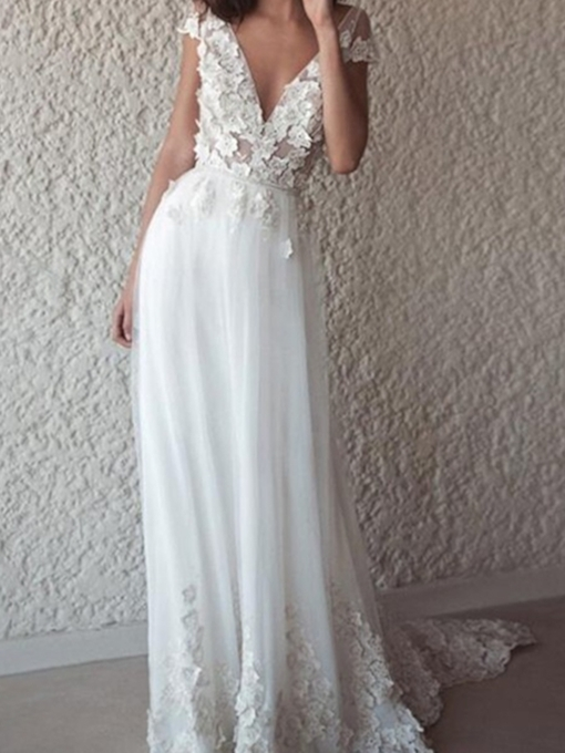 Short Sleeve Column Appliques Outdoor Wedding Dress 2019