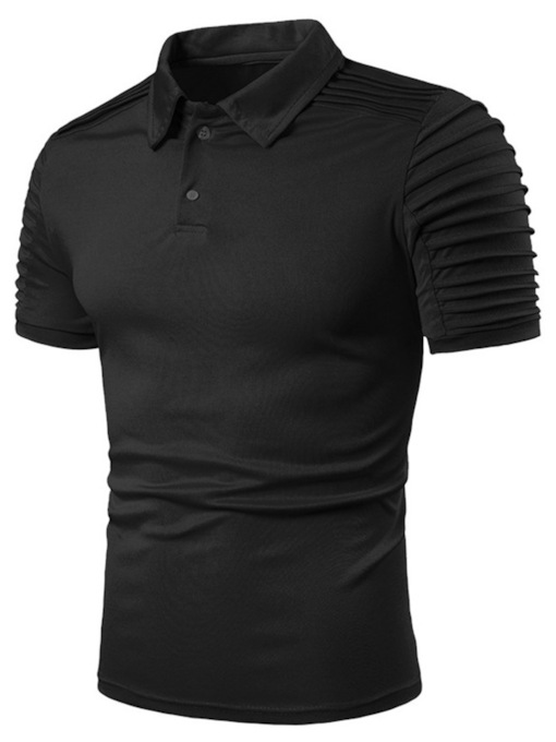 White/Black Polo Neck Pleated Special Sleeve Design Casual Plain Men's Polo Shirt