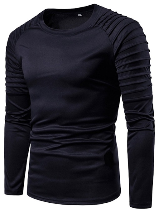 Casual Round Neck Color Block Pleated Long Sleeve Men's T-shirt