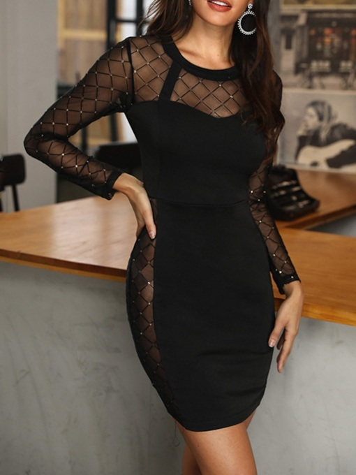 Mesh Nine Points Sleeve Round Neck Bodycon Women's Bodycon Dress