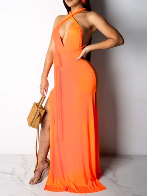 Split V-Neck Sleeveless Mid Waist Women's Maxi Dress