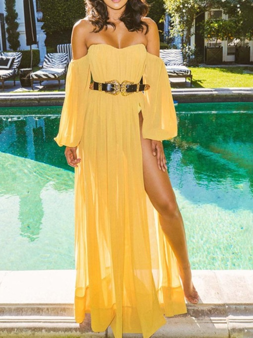 Long Sleeve Split Off Shoulder Summer Women's Maxi Dress