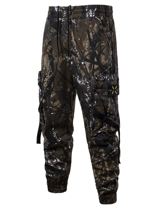 Thin Overall Camouflage Print Lace-Up Men's Casual Pants