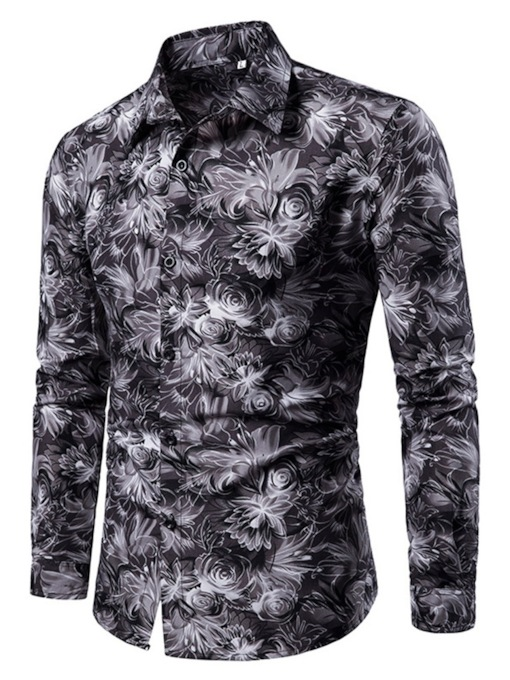 Casual Lapel Floral Print Single-Breasted Men's Shirt
