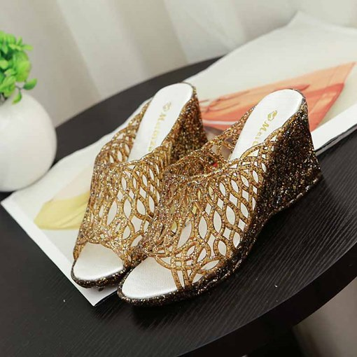 Slip-On Wedge Heel Hollow PVC Women's Slippers