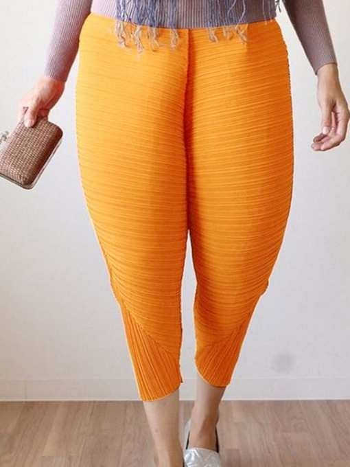 Plus Size Loose Plain Mid-Calf Women's Casual Pants