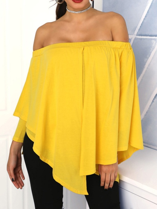Asymmetric Plain Off Shoulder Long Sleeve Women's Blouse