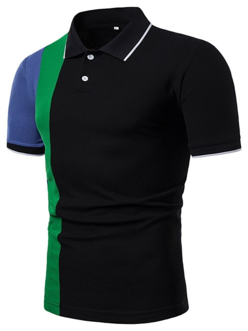 Classic Stylish Color Block Polo Neck Button Casual Men's Polo Shirt