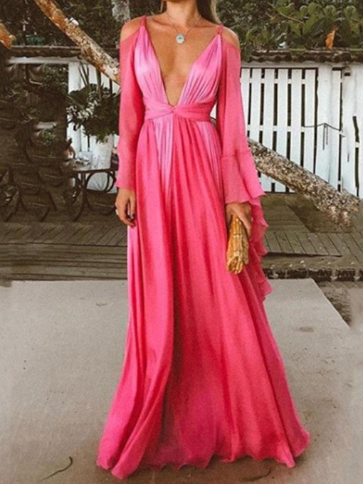 Long Sleeve Backless V-Neck Mid Waist Women's Maxi Dress