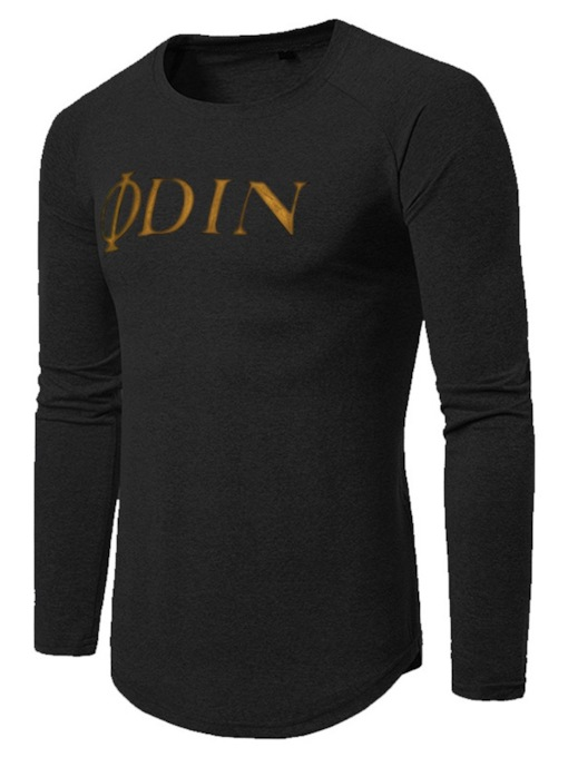 Round Neck Casual Letter Print Loose Long Sleeves Men's T-shirt
