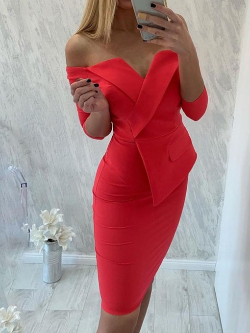Off Shoulder Plain Three-Quarter Sleeve Women's Bodycon Dress