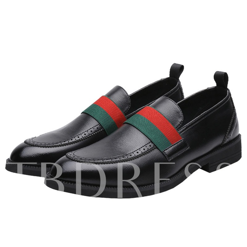 Color Block Slip-On Round Toe Men's Business Shoes